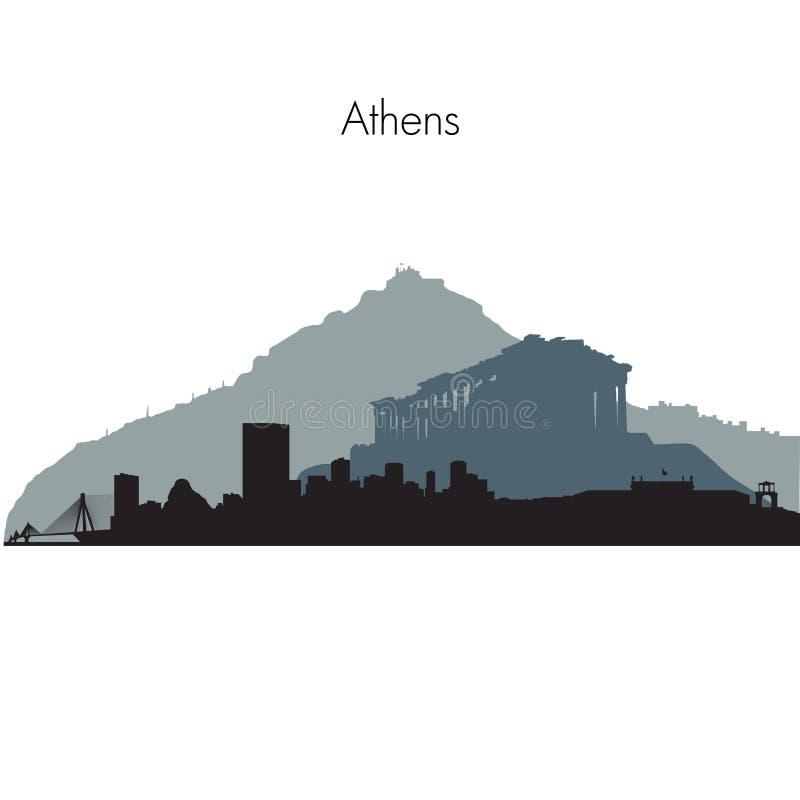Διανυσματικός ορίζοντας της Αθήνας διανυσματική απεικόνιση
