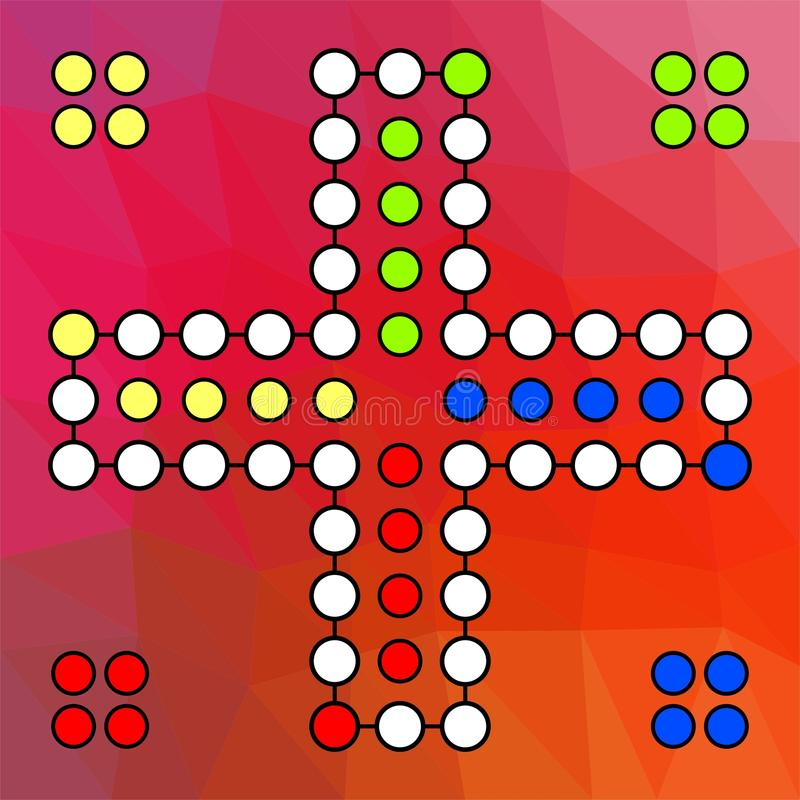 Διανυσματικός πίνακας για ένα οικογενειακό παιχνίδι Ludo σε τέσσερις παίκτες σε ένα κόκκινο χρωματισμένο υπόβαθρο διανυσματική απεικόνιση