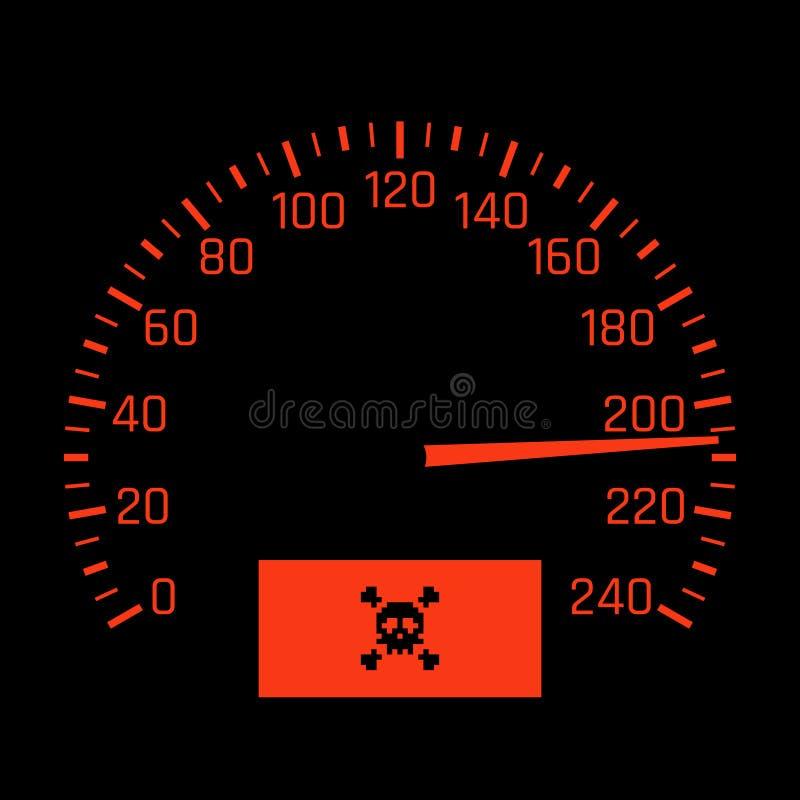 Διανυσματικός πίνακας ταχυμέτρων αυτοκινήτων με το σύμβολο κρανίων έννοια υψηλής ταχύτητας απεικόνιση αποθεμάτων