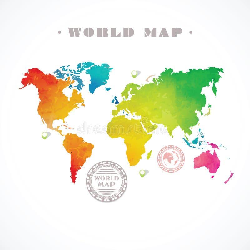 Διανυσματικός παγκόσμιος χάρτης νερό-χρώματος ελεύθερη απεικόνιση δικαιώματος