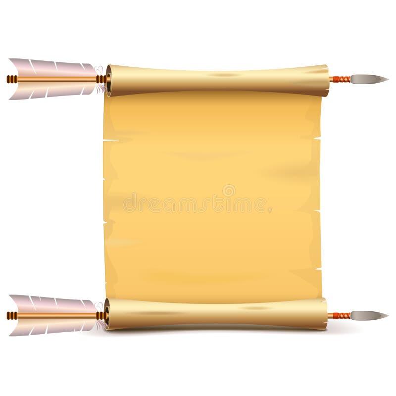 Διανυσματικός παλαιός κύλινδρος εγγράφου με τα βέλη ελεύθερη απεικόνιση δικαιώματος