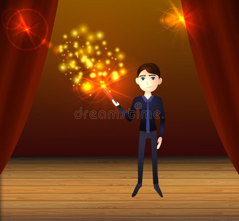 Διανυσματικός παρουσιάστε υπόβαθρο, άτομο σκηνικό να κάνει μαγικό ελεύθερη απεικόνιση δικαιώματος