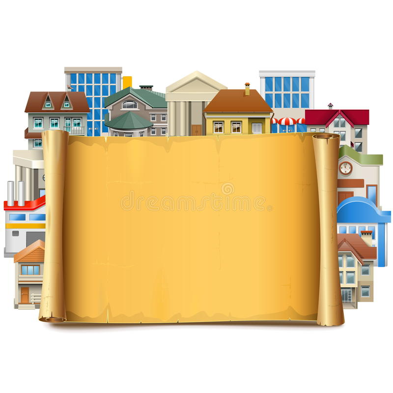 Διανυσματικός παλαιός κύλινδρος με τα κτήρια απεικόνιση αποθεμάτων