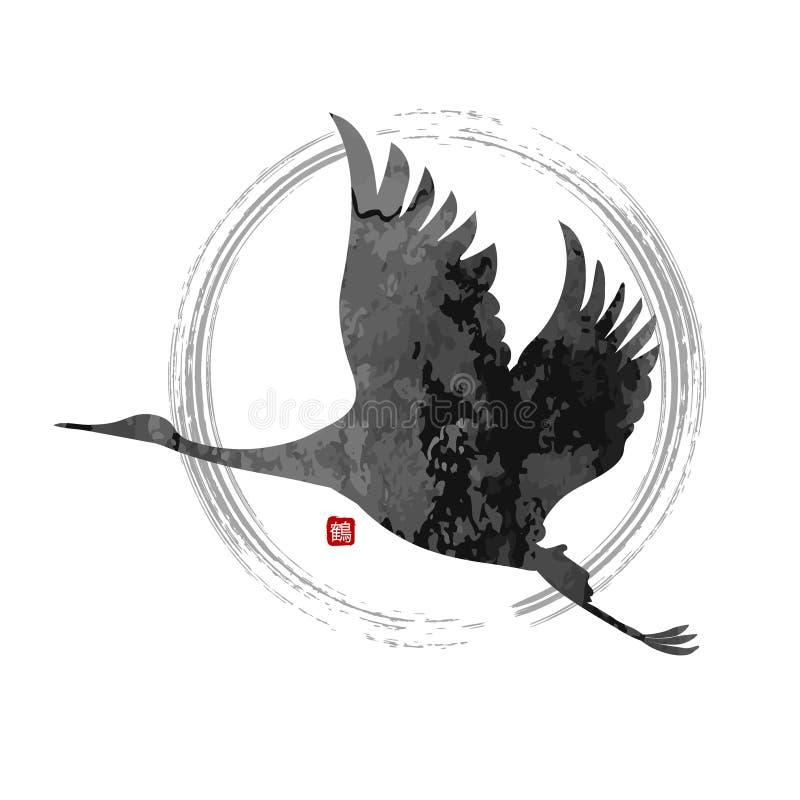 Διανυσματικός πετώντας γερανός απεικόνιση αποθεμάτων