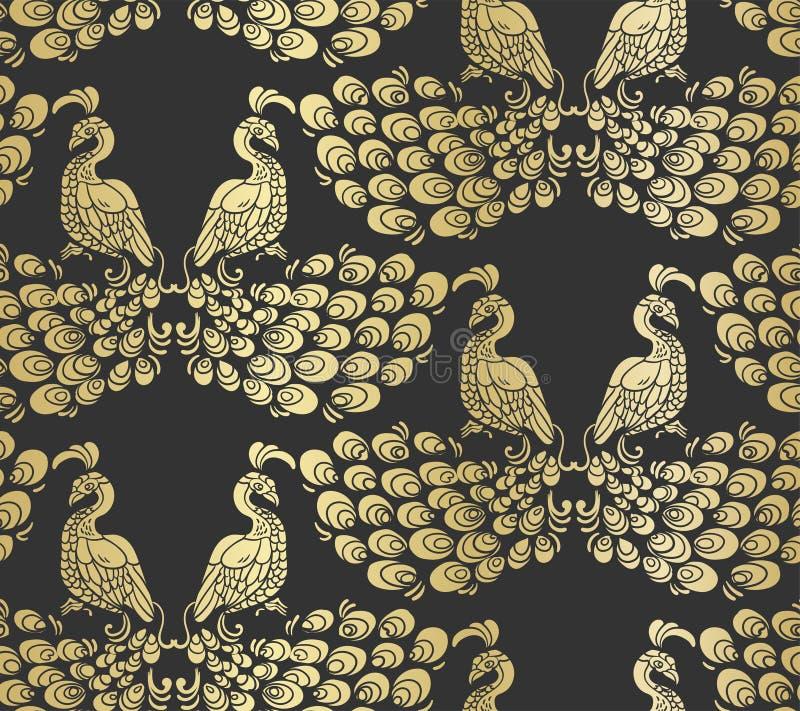 Διανυσματικός πουλιών peacock σκοτεινός χρυσός σχεδίων σχεδίων άνευ ραφής ελεύθερη απεικόνιση δικαιώματος