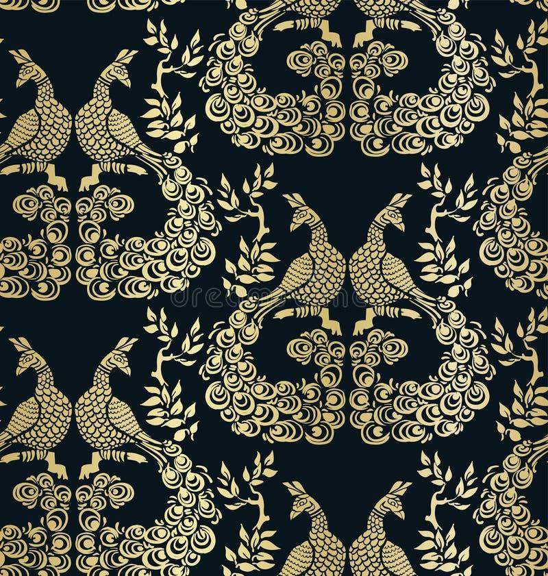 Διανυσματικός πουλιών peacock σκοτεινός χρυσός σχεδίων σχεδίων άνευ ραφής διανυσματική απεικόνιση