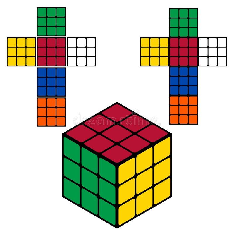 Διανυσματικός πολύχρωμος κύβος απεικόνιση αποθεμάτων