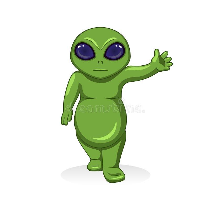 Διανυσματικός πράσινος αλλοδαπός, εξωγήινος χαρακτήρας κινούμενων σχεδίων απεικόνιση αποθεμάτων