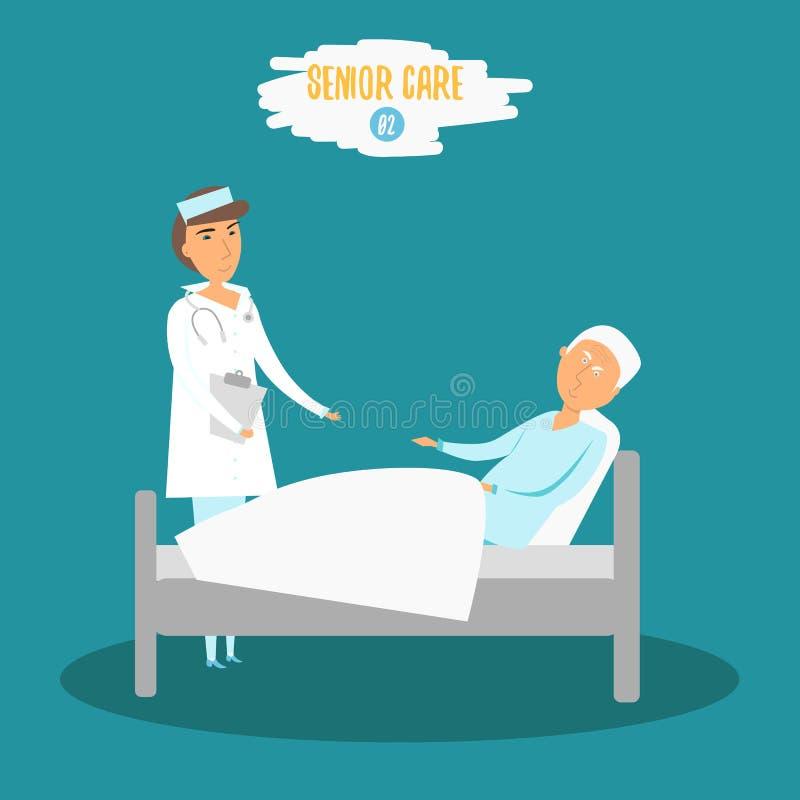 Διανυσματικός πρεσβύτερος προσοχής Γιατρός γυναικών που βοηθά τον ανώτερο άνδρα κοντά στο κρεβάτι Φροντίζοντας ανώτερη νοσοκόμα σ απεικόνιση αποθεμάτων