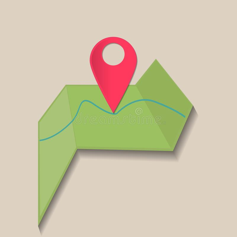 Διανυσματικός προσδιορισμός θέσης εικόνας στο χάρτη Εικονίδιο ΠΣΤ σημαδιών Κόκκινο εικονίδιο lo ελεύθερη απεικόνιση δικαιώματος