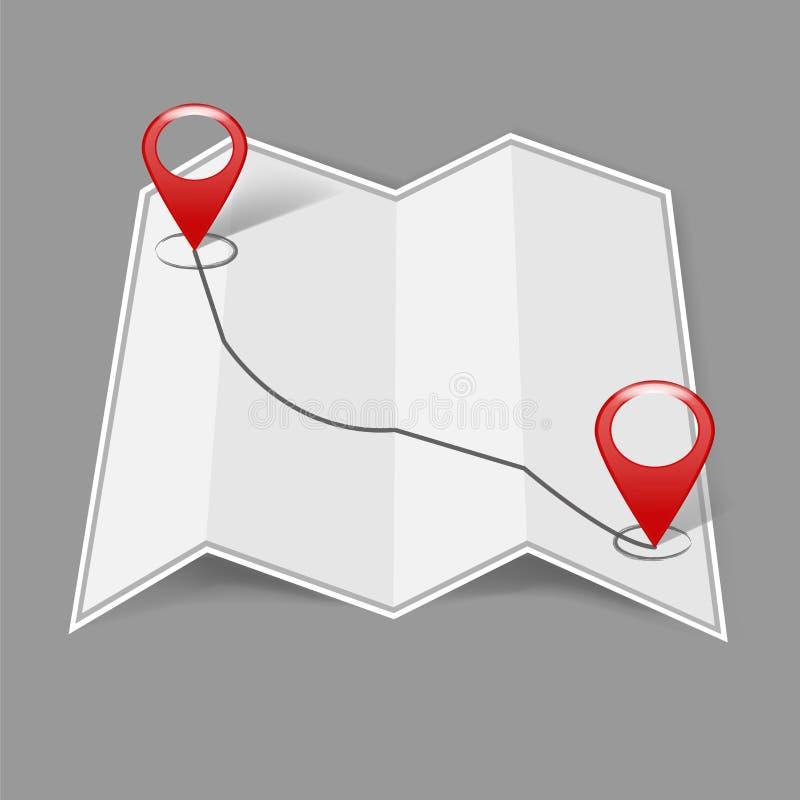 Διανυσματικός προσδιορισμός θέσης εικόνας στο χάρτη Εικονίδιο ΠΣΤ σημαδιών Κόκκινο εικονίδιο lo απεικόνιση αποθεμάτων