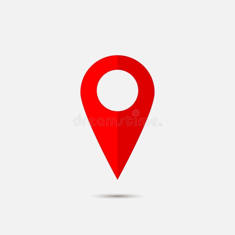 Διανυσματικός προσδιορισμός θέσης εικόνας στο χάρτη Εικονίδιο σημαδιών Κόκκινο locati εικονιδίων ελεύθερη απεικόνιση δικαιώματος