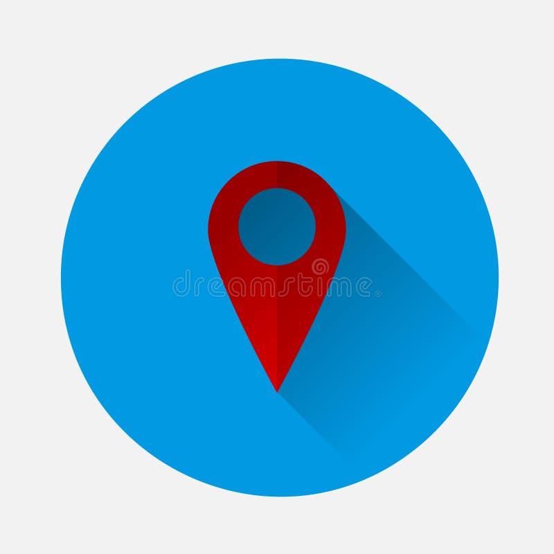 Διανυσματικός προσδιορισμός θέσης στο εικονίδιο χαρτών στο μπλε υπόβαθρο Επίπεδο ima απεικόνιση αποθεμάτων