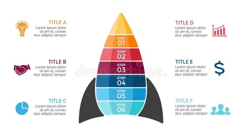 Διανυσματικός πύραυλος infographic, διάγραμμα διαγραμμάτων, παρουσίαση γραφικών παραστάσεων Έννοια ίδρυσης επιχείρησης με έξι επι διανυσματική απεικόνιση