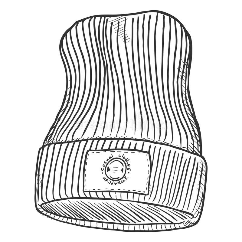 Διανυσματικός πλεκτός σκίτσο χειμώνας ΚΑΠ με την ετικέτα ελεύθερη απεικόνιση δικαιώματος