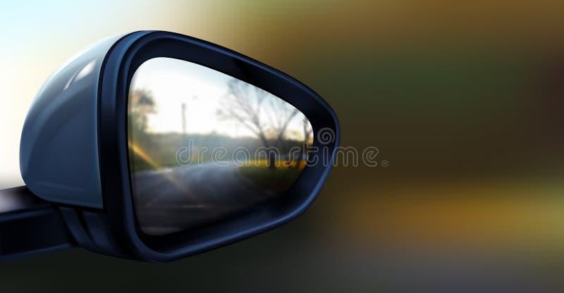 Διανυσματικός ρεαλιστικός μαύρος οπισθοσκόπος καθρέφτης για το αυτοκίνητο απεικόνιση αποθεμάτων