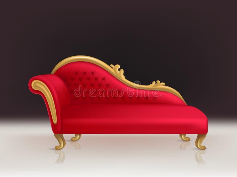 Διανυσματικός ρεαλιστικός πολυτελής κόκκινος καναπές βελούδου, καναπές διανυσματική απεικόνιση