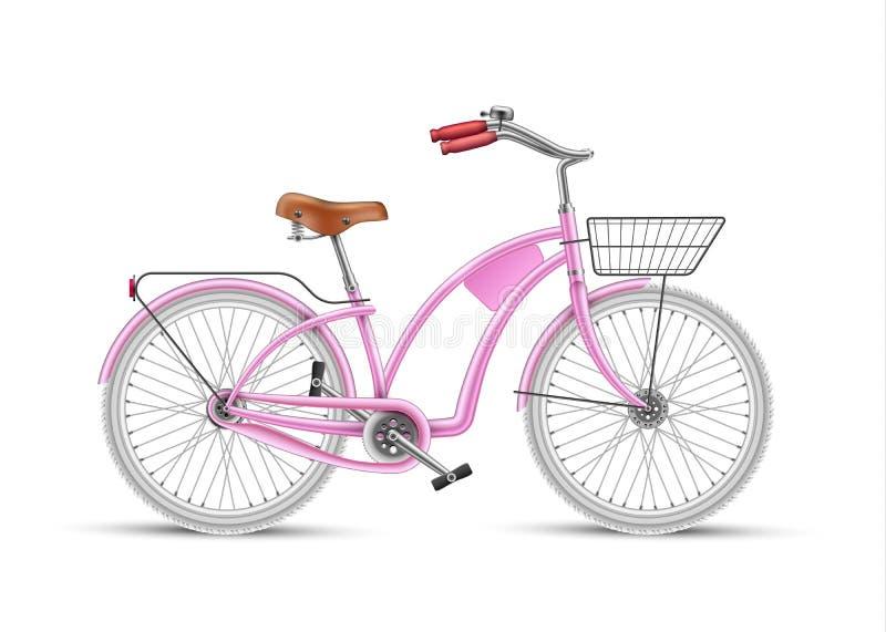 Διανυσματικός ρεαλιστικός τρισδιάστατος ποδηλάτων κοριτσιών ρόδινος που απομονώνεται ελεύθερη απεικόνιση δικαιώματος
