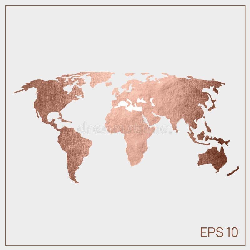 Διανυσματικός ρόδινος χρυσός παγκόσμιων χαρτών EPS 10 Ιστός στοκ εικόνα με δικαίωμα ελεύθερης χρήσης