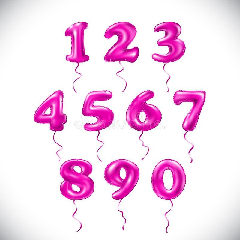 Διανυσματικός ρόδινος αριθμός 1, 2, 3, 4, 5, 6, 7, 8, 9, μεταλλικό μπαλόνι 0 ροδανιλίνης χρυσά μπαλόνια διακοσμήσεων κόμματος Σημ διανυσματική απεικόνιση