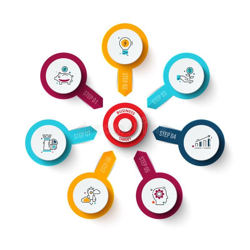Διανυσματικός στόχος με τα βέλη Πρότυπο για το διάγραμμα, τη γραφική παράσταση, την παρουσίαση και το διάγραμμα κύκλων Επιχειρησι απεικόνιση αποθεμάτων