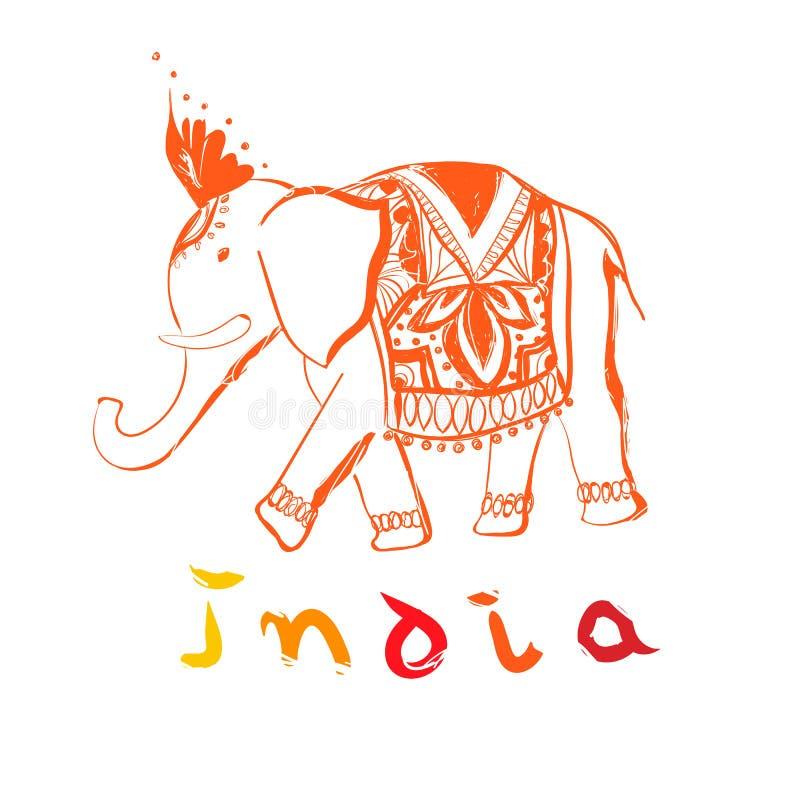 Διανυσματικός συρμένος χέρι ελέφαντας Απεικόνιση ύφους της Ινδίας με το κείμενο απεικόνιση αποθεμάτων