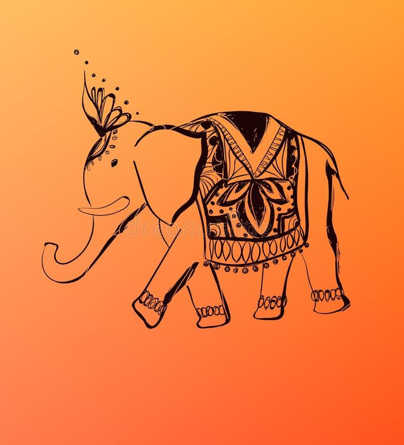 Διανυσματικός συρμένος χέρι ελέφαντας Απεικόνιση ύφους της Ινδίας απεικόνιση αποθεμάτων