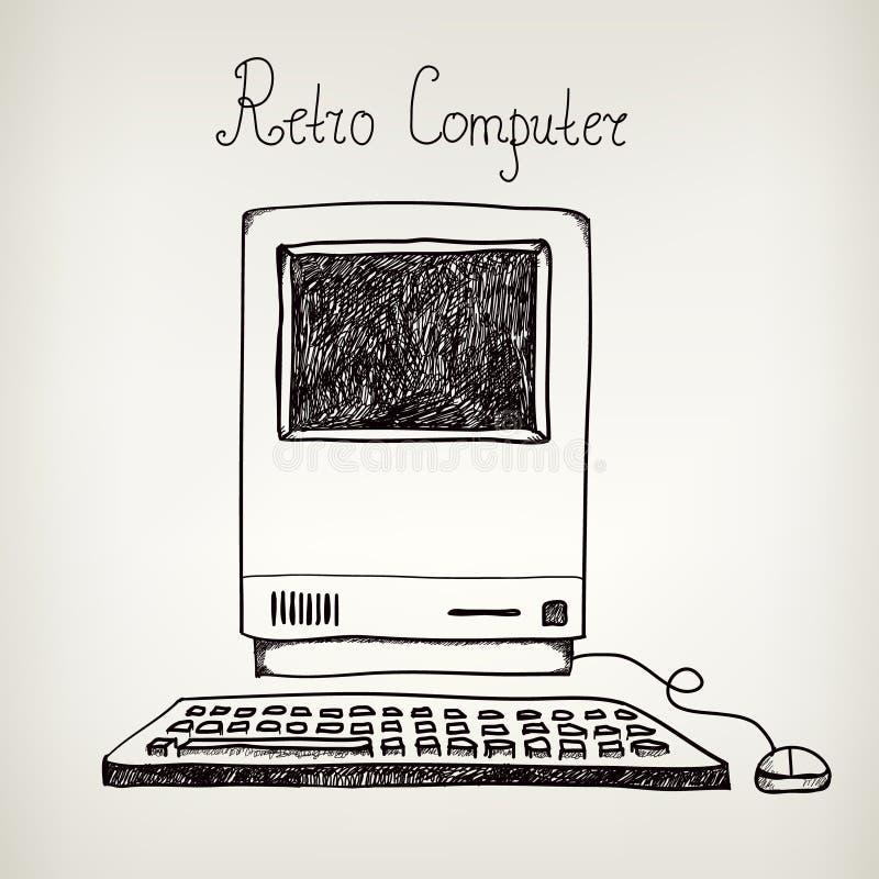 Διανυσματικός συρμένος χέρι doodle αναδρομικός υπολογιστής διανυσματική απεικόνιση
