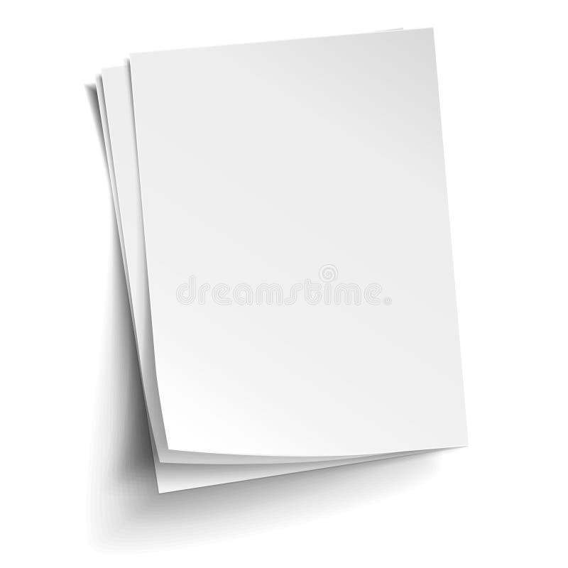 Διανυσματικός σωρός τριών κενών άσπρων φύλλων Ρεαλιστικό κενό έγγραφο ελεύθερη απεικόνιση δικαιώματος