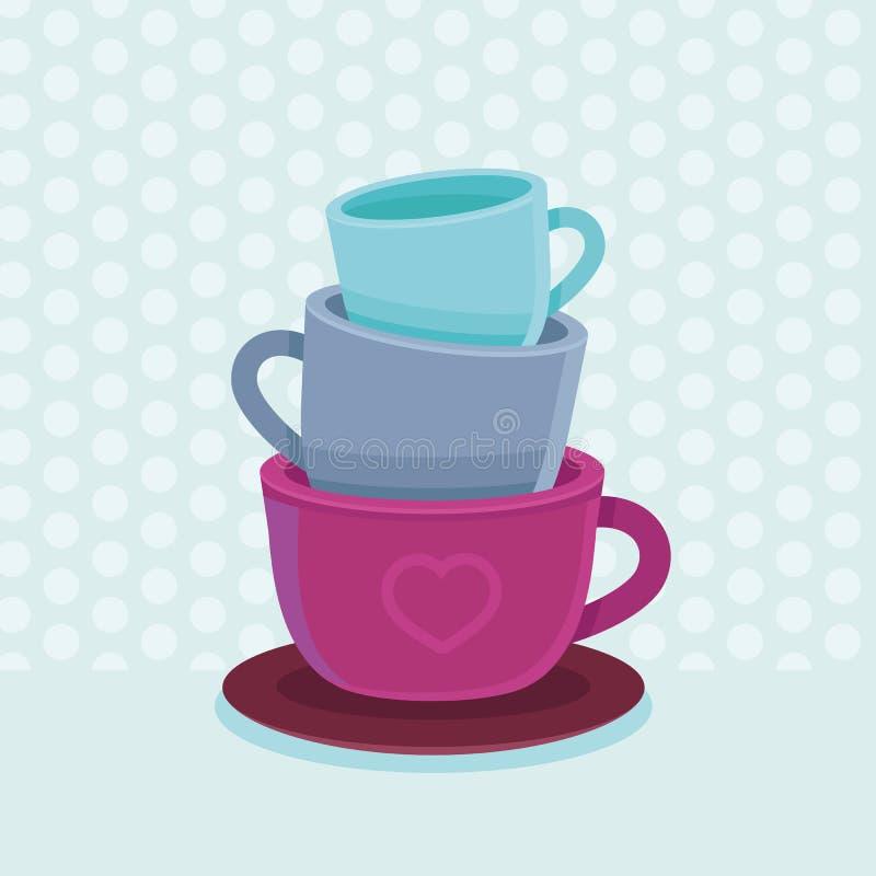 Διανυσματικός σωρός των κουπών και των φλυτζανιών καφέ απεικόνιση αποθεμάτων