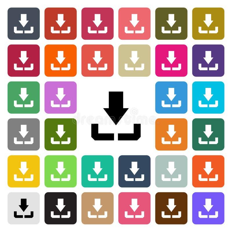 Διανυσματικός σύγχρονος μεταφορτώνει το επίπεδο εικονίδιο σχεδίου που τίθεται στο κουμπί ελεύθερη απεικόνιση δικαιώματος