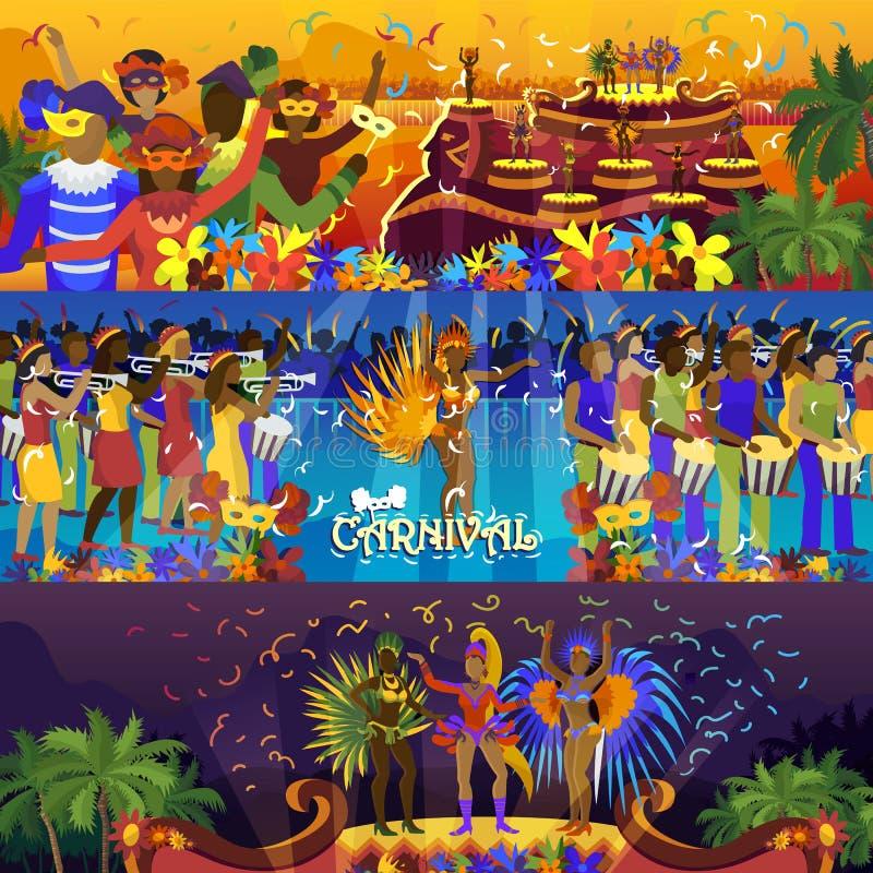 Διανυσματικός της Βραζιλίας καρναβάλι Ρίο φεστιβάλ εορτασμού βραζιλιάνος κοριτσιών χορευτών samba νότος κοστουμιών κομμάτων carna απεικόνιση αποθεμάτων