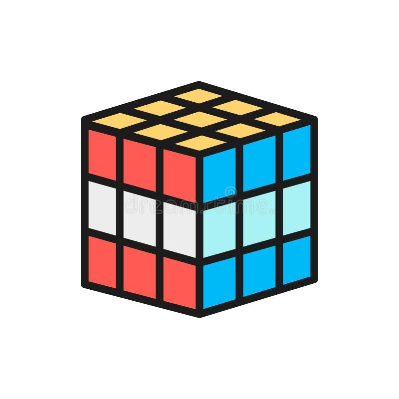 Διανυσματικός τρισδιάστατος κύβος, μηχανικό γρίφων εικονίδιο γραμμών χρώματος παιχνιδιών επίπεδο ελεύθερη απεικόνιση δικαιώματος