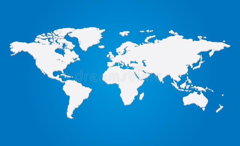 Διανυσματικός τρισδιάστατος παγκόσμιος χάρτης απεικόνιση αποθεμάτων