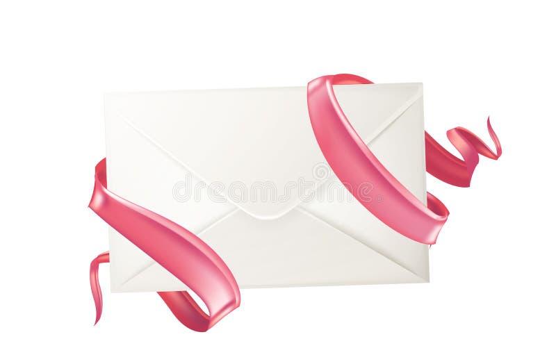 Διανυσματικός τρισδιάστατος φάκελος, κάρτα ημέρας βαλεντίνων κορδελλών ελεύθερη απεικόνιση δικαιώματος