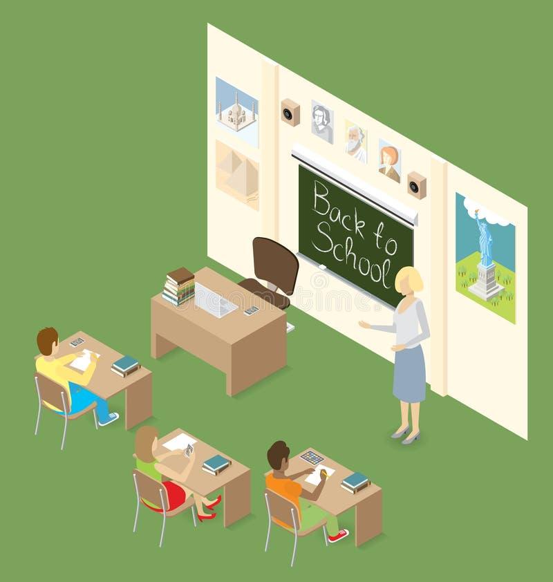 Διανυσματικός τρισδιάστατος επίπεδος Isometric με την έννοια εκπαίδευσης διανυσματική απεικόνιση
