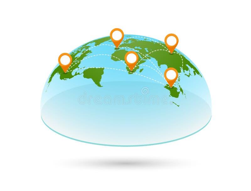 Διανυσματικός τρισδιάστατος παγκόσμιος χάρτης με τις καρφίτσες απεικόνιση αποθεμάτων