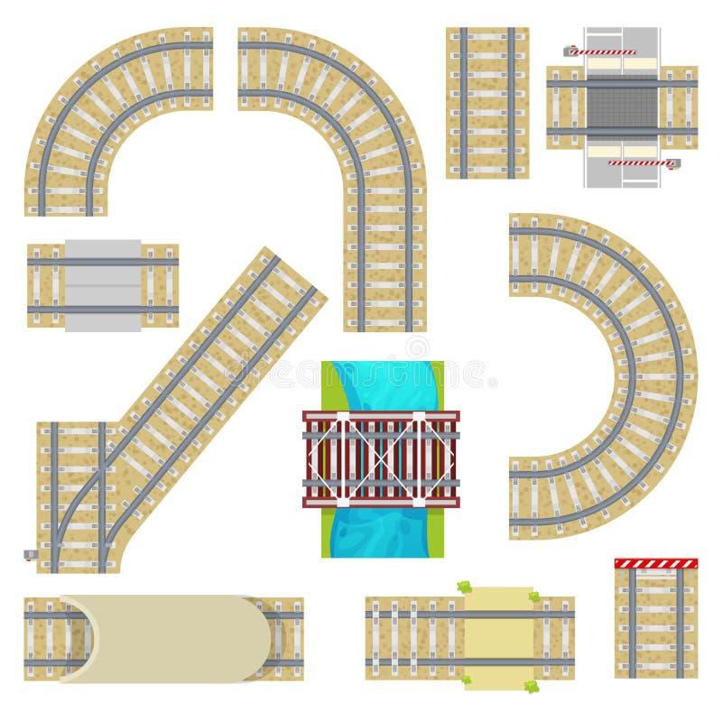 Διανυσματικός τρόπος τοπ άποψης διαδρομών σιδηροδρόμου σιδηροδρόμων curvy οδικός ευθύς ράγα ή με το σύνολο σηράγγων και κιγκλιδωμ διανυσματική απεικόνιση