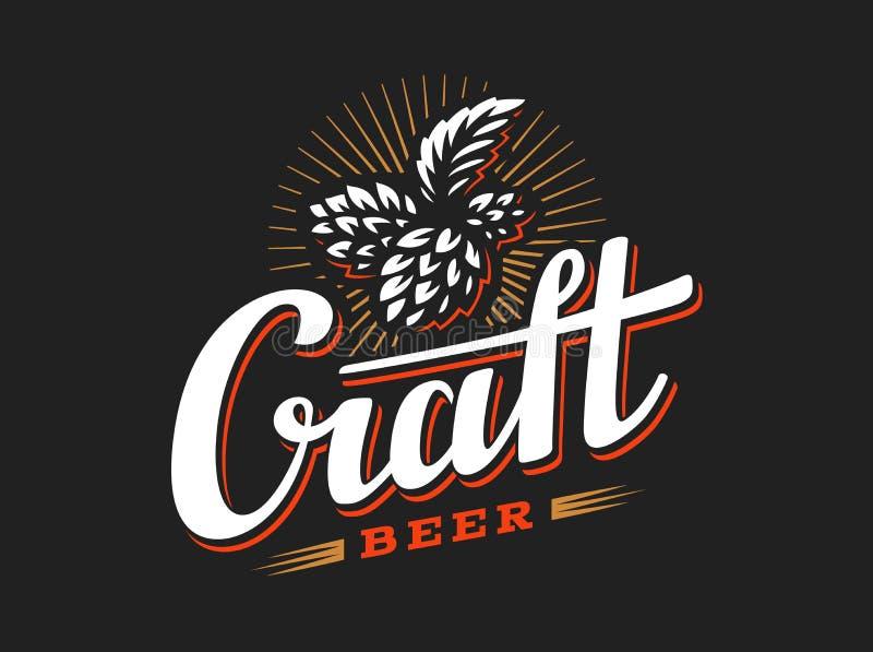 Διανυσματικός λυκίσκος απεικόνισης λογότυπων μπύρας τεχνών, σχέδιο εμβλημάτων απεικόνιση αποθεμάτων