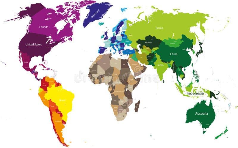 Διανυσματικός υψηλός λεπτομερής παγκόσμιος χάρτης ελεύθερη απεικόνιση δικαιώματος