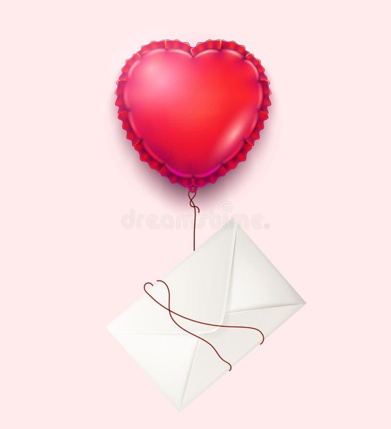 Διανυσματικός φάκελος, κάρτα ημέρας βαλεντίνων μπαλονιών καρδιών διανυσματική απεικόνιση