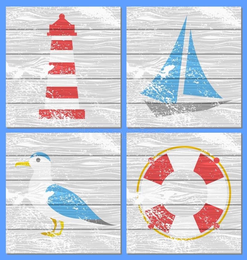 Διανυσματικός φάρος, γιοτ, seagulls και lifebuoy ελεύθερη απεικόνιση δικαιώματος
