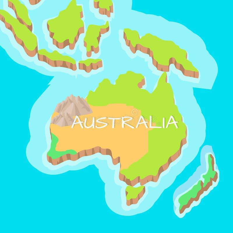 Διανυσματικός χάρτης ανακούφισης κινούμενων σχεδίων ηπειρωτικών χωρών της Αυστραλίας ελεύθερη απεικόνιση δικαιώματος