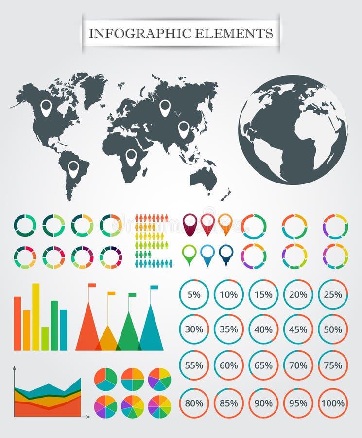 Διανυσματικός χάρτης, δείκτες, βέλη, πίτα για infographic διανυσματική απεικόνιση