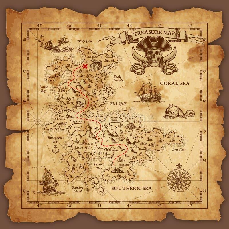 Διανυσματικός χάρτης θησαυρών πειρατών διανυσματική απεικόνιση