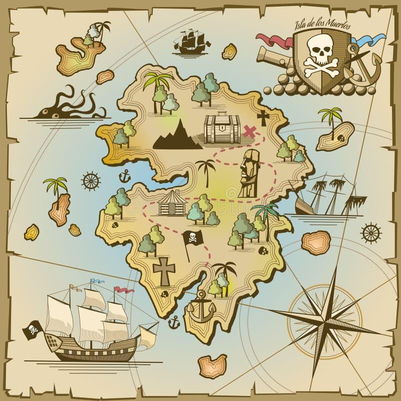 Διανυσματικός χάρτης νησιών θησαυρών πειρατών ελεύθερη απεικόνιση δικαιώματος