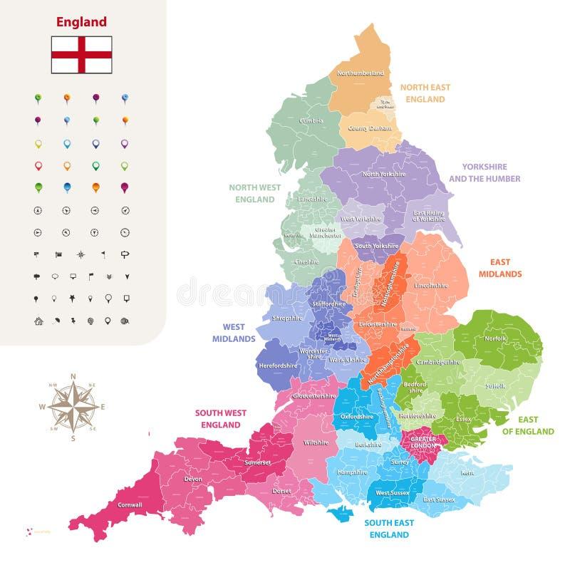 Διανυσματικός χάρτης νομών της Αγγλίας εθιμοτυπικός που χρωματίζεται από τις περιοχές διανυσματική απεικόνιση
