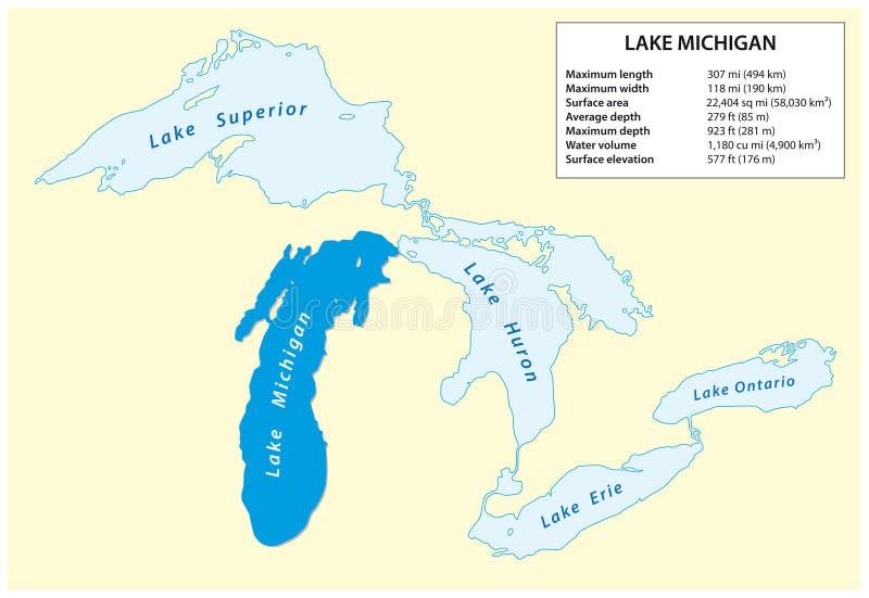 Διανυσματικός χάρτης πληροφοριών της λίμνης Μίτσιγκαν στη Βόρεια Αμερική ελεύθερη απεικόνιση δικαιώματος