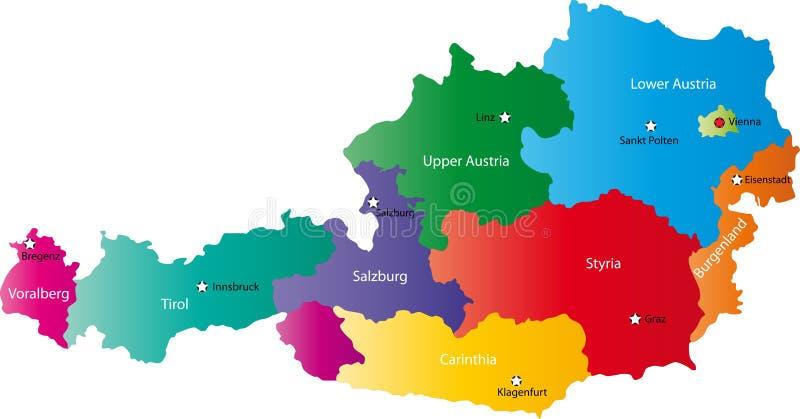 Διανυσματικός χάρτης της Αυστρίας διανυσματική απεικόνιση