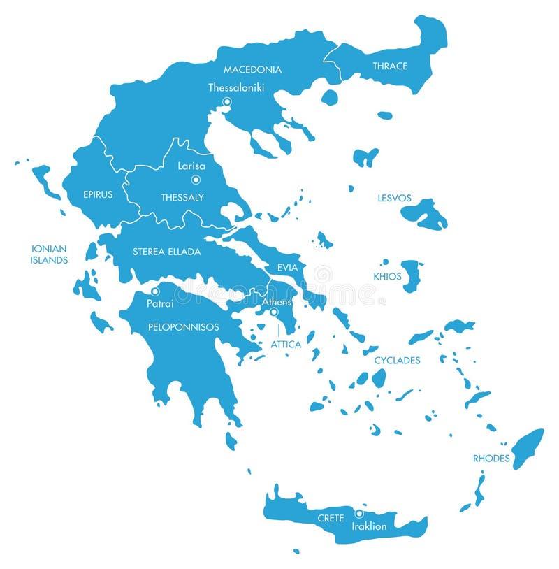Διανυσματικός χάρτης της Ελλάδας με τις περιοχές ελεύθερη απεικόνιση δικαιώματος